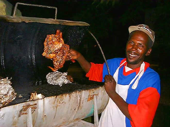 Jerk at Night in Negril Jamaica